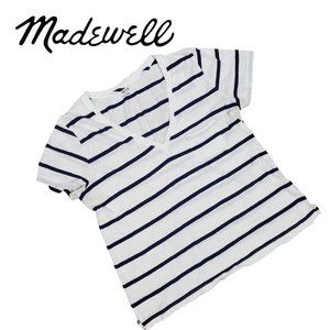 MADEWELL Whisper Cotton Blue Striped V Neck Tee L